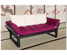 VivereZen - Divano letto futon Edge - Zen Struttura in legno nera + futon classe 1