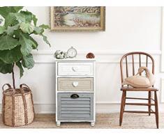 Rebecca Mobili Comodino per camera bagno, mobile multiuso con 3 cassetti, legno paulownia, bianco grigio beige, shabby - Misure 65 x 40 x 29 cm (HxLxP) - Art. RE4416