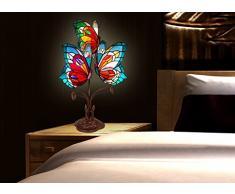 World Art Farfalle Abat Jour Lampada da Comodino Stile Tiffany E14, 25 W, Multicolore