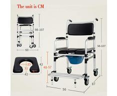 ZXXX Sedile per Doccia con rotelle, Sedia Mobile con bloccaggio delle Ruote, WC Ribaltabile, Vecchio WC sul Comodino, disabili (Lega di Alluminio)