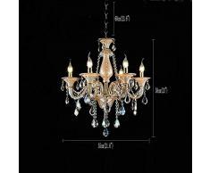 HuiKai Lampadario da soffitto sfarzoso Classico Colore di Oro Metallo Cristallo Trasparente in Stile Barocco Tradizionale 5 Bracci per Cucina Ristorante Soggiorno Camera da Letto,Gold