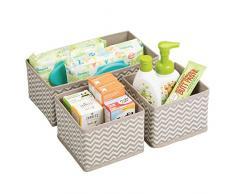 mDesign set da 3 scatole per armadio ? comode scatole portaoggetti e organizer in tessuto ideale per accessori e giocattoli - Colore: talpa, nature