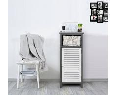 Mobili Rebecca® Mobile Bagno Cassettiera 1 Cassetto 1 Anta Legrno Vimini Bianco Grigio Country Rustico Cucina Lavanderia (Cod. RE4087)