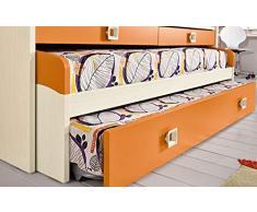 Dafne Italian Design Cameretta Completa a Ponte - Effetto Betulla, Mandarino (Triplo Letto Singolo e Armadio) (cm. 300 x 96 x 259h)