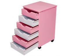 Miadomodo KCTN01 Cassettiera comò in legno blu/bianco o rosa/bianco (rosa/bianco)