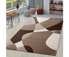 TT Home Tappeto di Design Moderno con Motivo Geometrico dal Taglio Sagomato Marrone, Crema e Beige, Größe:60x110 cm