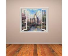 Castello Principessa 3D Finestra Adesivo da parete Fiaba Adesivo Camera da letto delle ragazze arredamento Disponibile in 8 misure XX-Grande Digitale