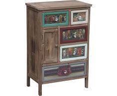 Cassettiera Vintage multicolor in legno di paulonia L50xPR30xH77 cm