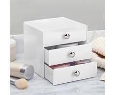 iDesign Porta trucchi con 3 cassetti, Mini cassettiera per trucco, gioielli e cosmetici, Organizzatore trucchi in plastica a forma di cubo, bianco