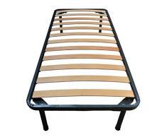 Rete Singola per Materasso Ortopedica in Ferro e Doghe Listelli di Faggio 85 x 190 cm Modello Napoleone
