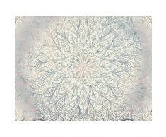 Carta da parati fotografica Mandala orientale 352 x 250 cm Vello Sfondo Murale XXL Moderne Decorazione Soggiorno Camera De Letto Sala Ufficio Blu Beige Bianco 9286011a