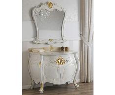 Simone Guarracino Como lavabo 2 porte e specchio stile Barocco Veneziano crackle particolari foglia oro marmo crema pomelli Swarovski