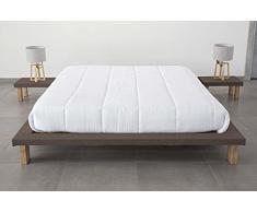 EVERGREENWEB - Letto Tatami Matrimoniale 140 x 190 cm in legno Naturale alto 20 cm con comodini inclusi. Letto giapponese a doghe rivestito in tessuto color Marrone adatto a tutti i Materassi - TAMI