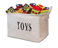 Tougo grande dimensione 43,2 cm biancoToy Storage basket Bin cassettiera Organizer Perfect per bambini, giocattoli per bambini, vestiti del bambino, bambini libri, Gift Basket