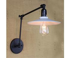 Ysddian Industriale americano Camera da Letto pieghevole lampade letto lungo braccio bilanciere Specchio lampada minimalista moderno retrò con interruttore luci da parete, Lunghezza braccio (30+30cm)