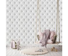 murimage Carta Parati Pelle Bianco 274 x 254 cm Include Colla Ottica 3D Cuoio Lusso Trapuntato Diamante fotomurali wallpaper camera da letto