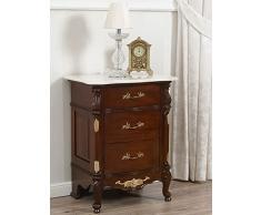 Comodino stile Barocco Inglese noce particolari foglia oro top marmo crema