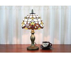 AIFUDE Tiffany 8-inch Style Tiffany Lampada da tavolo europeo barocca Bedroom Comodino Luce Camera da letto della lampada