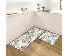 IlGruppone Set di 2 tappeti da Cucina Antiscivolo e Lavabili passatoia Cucina,Ingresso,Camera - Grigia