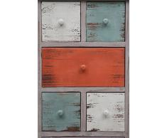 Cassettiera Vintage multicolor in legno di paulonia L43xPR28,5xH90 cm