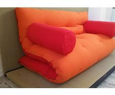 Divano Letto futon con braccioli Double Face Base Tatami Colori Rosso/Arancio Misura futon 120 x 200 cm