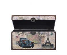 Cassaforte VGX001 - Cassapanca in legno con rivestimento in ecopelle di alta qualità, stile vintage, con accessori in metallo, effetto anticato, diverse dimensioni, marittimo, decorazione, di alta qualità, stile coloniale, scatola