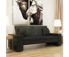 vidaXL Divano letto con braccioli grandi moderno regolabile sofa in ecopelle nera