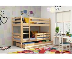 Letto a castello ERYK 160X80 con cassettone, lettino per bambini e ragazzi, cameretta ragazzi, materassi in spugna compresi nel prezzo (Pino naturale)