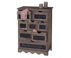 Serie Vintage credenza cassettiera Ermelo con lavagna legno di paulonia 30x60x87cm ~ marrone