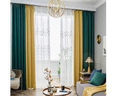 Tende oscuranti sigillate con isolamento termico super morbido - semplice moderno di lusso leggero tende da camera da letto di colore soggiorno 2 pezzi set 165 * 228 cm (larghezza * alta) giallo verde