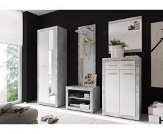 AVANTI TRENDSTORE - Solaika - Armadio da guardaroba con specchio e ante a battente, in laminato di grigio cemento d'imitazione e colore bianco lucido, dimensioni: LAP 68x198x37 cm