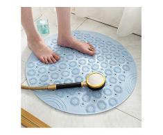 GHHQQZ Tappeto Doccia Antiscivolo Massaggio Forte Ventosa Protezione Ambientale PVC Poggiapiedi Domestico Tappetino Bagno, Circolare, 3 Colori, 55x55cm (Color : Blue, Size : 55cmx55cm 1-Tiles)