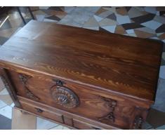 Decocraft Cassapanca in legno tavolino baule vintage in legno ottomano ripiani (SM1)