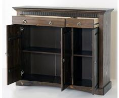 3 porte. Cassettiera in legno di pino, colore: coloniale, armadio, credenza