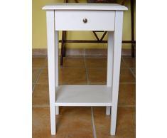 Comodino in stile arte povera,comodino design bianco in legno massello di abete con gambe a spillo mb12.Dimensioni massime: Larghezza 39,5cm,profondità 30cm,altezza 69cm.