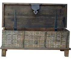 Guru-Shop Scatola in Legno Antico, Cassapanca in Legno, Tavolino, Tavolino da Caffè in Legno Massello, Riccamente Decorato - Modello 13, Marrone, 40x105x40 cm, Casse, Scatole, Scatole, Valigie