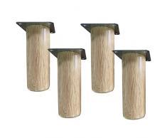 Solid wood legs Piede in Legno massello Mobile TV Piedi Gambe Comodino Gambe di Sostegno, Materiale in Legno Massiccio, Resistente, 4 portanti 300 kg, 1 Confezione da 4.