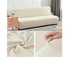 HM&DX Elastico Fodera per divano letto,Poliestere e spandex Waffle tessere Maglia Colore puro Fodera per futon Copertura divano-beige 63-75in