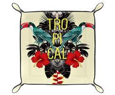 TIZORAX Tropicale pappagalli Farfalla Fiore Lasciare Scatola di immagazzinaggio in Pelle valletto organizzatore Gioielli per Chiave Moneta