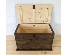 The Handmade Furniture Company - Cassapanca in pino massello, fatta a mano in Inghilterra, per biancheria, giocattoli, scarpe, stivali, colore: rovere scuro