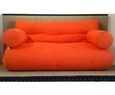 Divano letto futon con braccioli double face base tatami colori rosso/arancio misura futon 160 x 200 cm