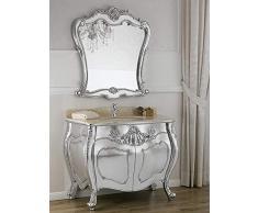 Simone Guarracino Como lavabo 2 porte e specchio stile Barocco Moderno foglia argento marmo crema pomelli Swarovski