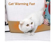 Qomolo Tappetino Riscaldante per Animale Domestico Cuccia per Cani Gatti Cuscino Riscaldante Divano Letto Piccoli Rimovibile con 7 Livelli di Temperatura Regolabili Basso Potere Rettangolare