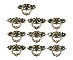 NUOLUX maniglie vintage ad anello per cucina, armadio, cassettiera, porta, 10 pezzi, ottone anticato