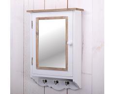 "PORTACHIAVI DA PARETE ""PAULA"" | 48 cm, specchio, Shabby chic | armadio a muro"
