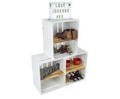 Set di 3 casse per frutta Johanna/scarpiera, con ripiano per scarpe, cassapanca per vino, mele, in legno, set da 3 pezzi, bianco con inserto fiammato QUER