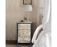 Rebecca Mobili Comodino industrial, cassettiera 3 cassetti, marrone nero, legno paulownia, camera bagno - Misure: 56 x 35 x 25 cm (HxLxP) - Art. RE4546