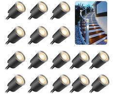 Mini Faretti Incasso,ONLT 16PCS 3000k Luci di Coperta LED,IP67 impermeabile 0.6W Ø32mm esterno per patio cucina giardino passerella armadio ponte in legno, faretti da incasso a LED a pavimento