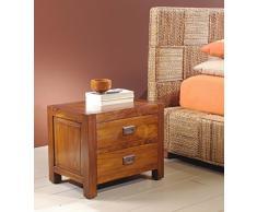 Comodino basso Cube stile etnico coloniale in legno massello di teak finitura color noce - Prezzo OUTLET ONLINE