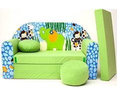 Pro Cosmo Z16 - Divano Letto con Pouf/poggiapiedi/Cuscino, in Tessuto, Dimensioni: 168 cm x 98 cm x 60 cm, per Bambini, Colore: Verde